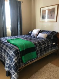 Evergreen cabin master bed